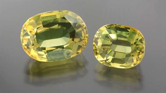 Greenish yellow doublets.