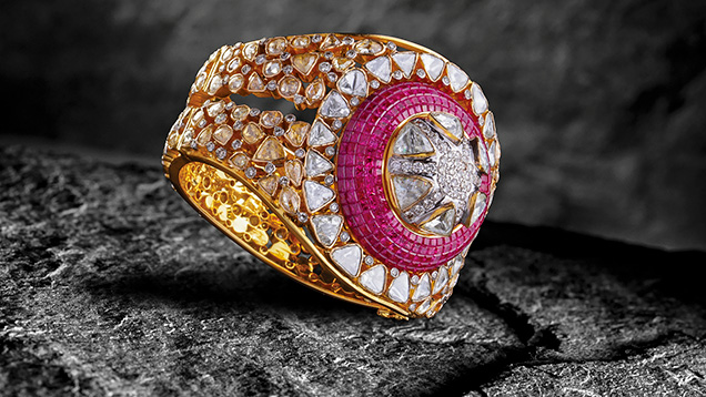 Fusion-style ruby ring by Birdhichand Ghanshyamdas