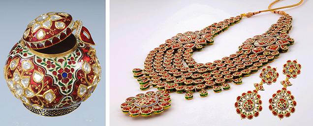 Decorative objects and traditional kundan jewelry by Surana