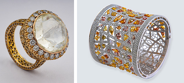 Surana jewelry with modern-cut and fancy-color diamonds