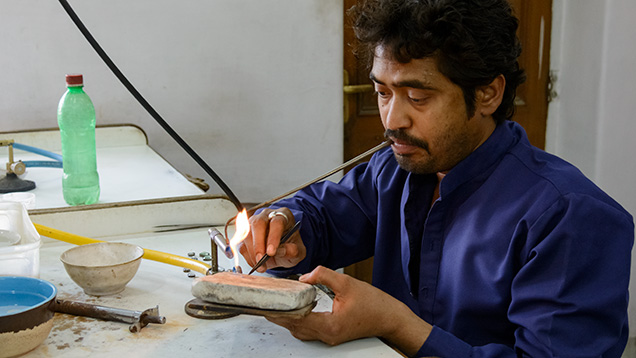 Gold soldering with a blowpipe at Gem Palace
