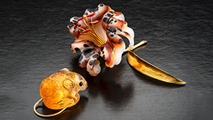 Gerd Dreher agate lily and Patrick Dreher citrine mouse