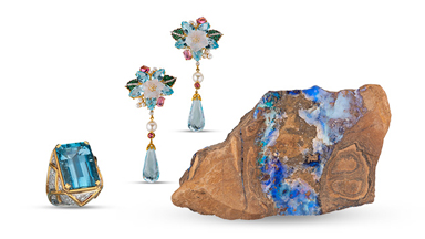 Gems and jewelry from a Birthstones exhibit