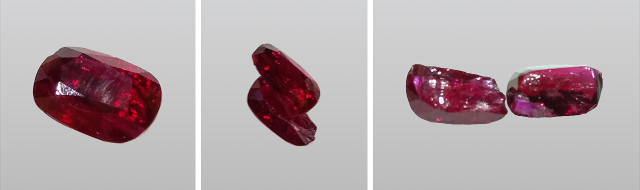 Pieces of broken glass-filled ruby.