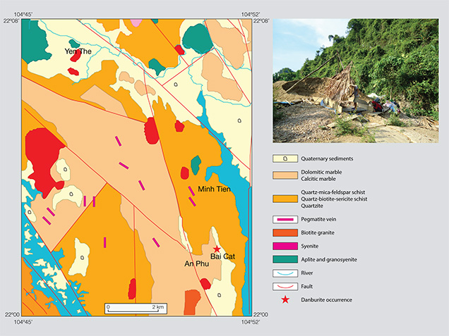 Geological map of Luc Yen, showing Bai Cat deposit.