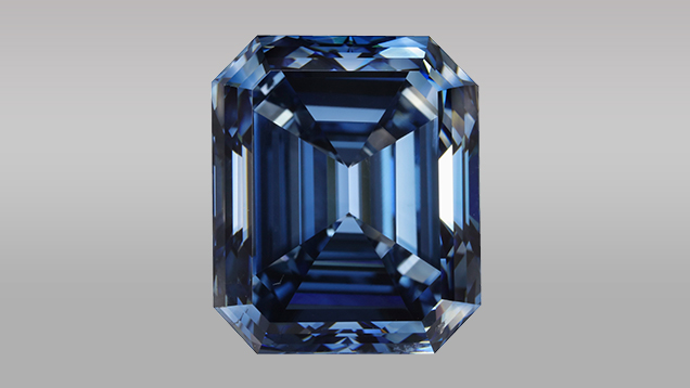 10.08 ct HPHT synthetic diamond with color equivalent to Fancy Deep blue