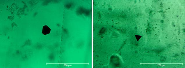 Hexagonal, trigonal opaque particles in Nacken synthetic emerald