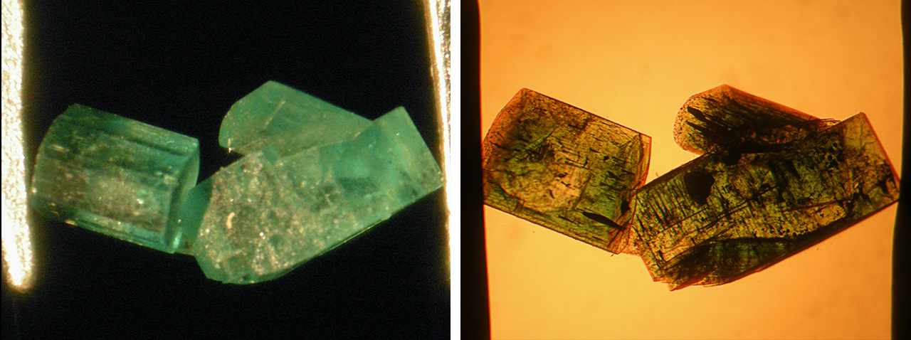 Cluster of type 2 Nacken synthetic emeralds