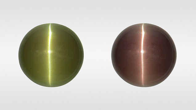 Alexandrite cabochon in fluorescent (left) and incandescent light (right).
