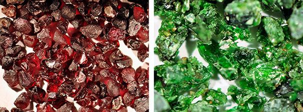 Garnet and clinopyroxene from crushed peridotitic rock