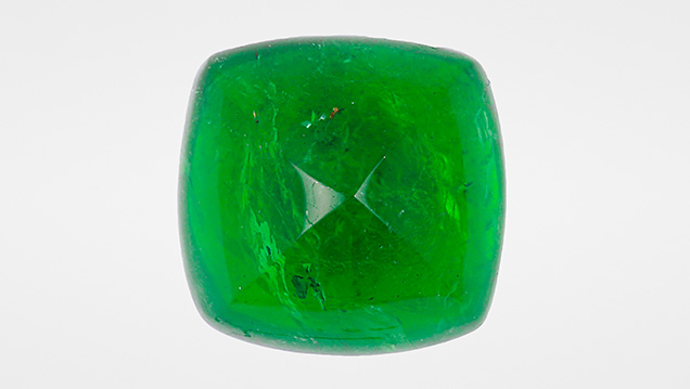 This Zambian emerald displays a highly saturated green color