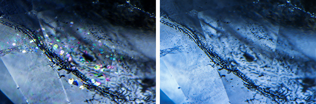Birefringent crystals in a sapphire treated with heat and pressure