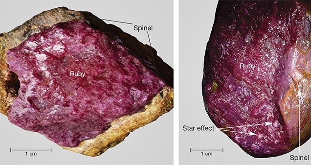 Corundum with spinel corona and possible star effect