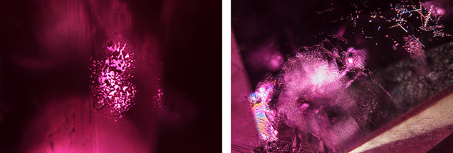 Side-by-side images of inclusions in a Montana ruby.