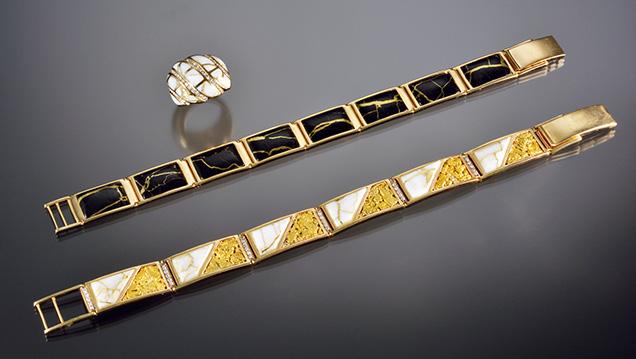 Jewelry featuring manufactured gold-in-quartz