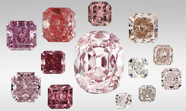 The diverse color range of pink diamonds