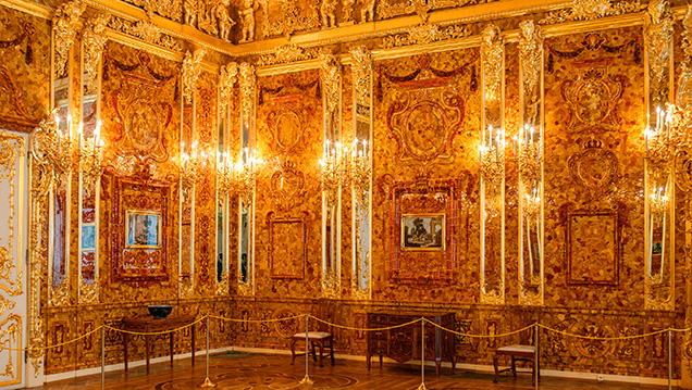 Two sections of the reconstructed Amber Room