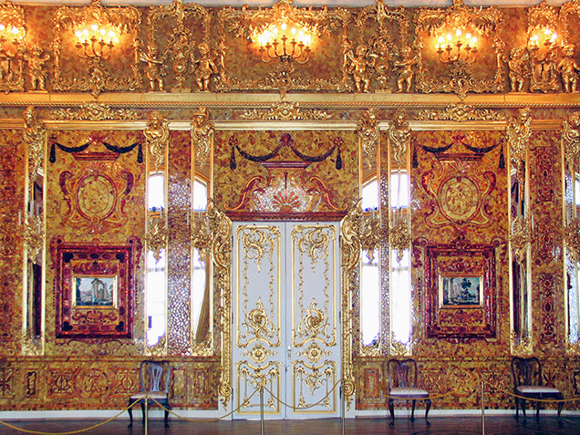 Reconstructed wall of the Amber Room