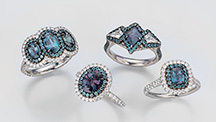 A group of rings featuring alexandrite from Brazil