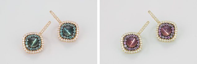 Earrings featuring cat's-eye Brazilian alexandrites