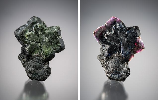 Cyclical twinned Brazilian alexandrite mineral specimen