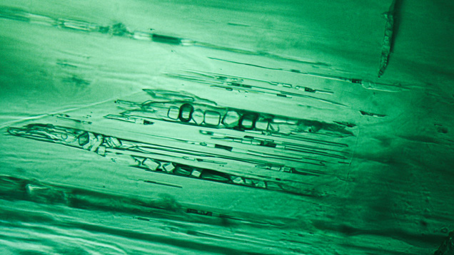 Needle-like multiphase inclusions in Afghan emerald