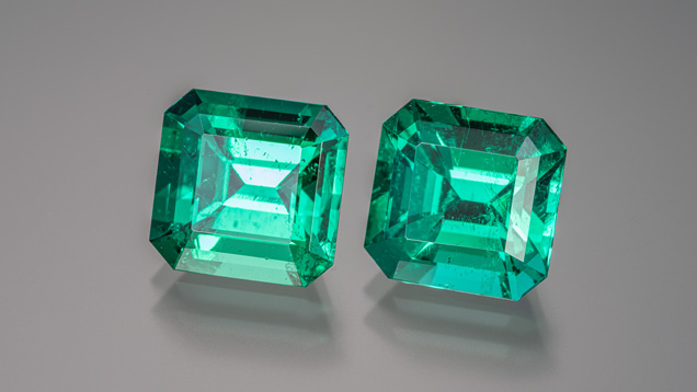 Matched pair of Colombian emeralds