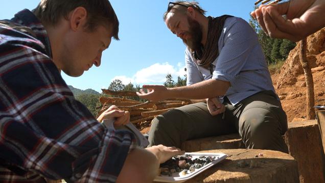 Field gemologists sort through gem gravel in Myanmar