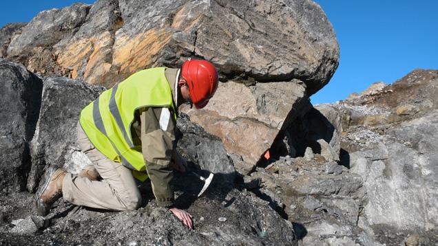 Field gemologist collects corundum in Greenland