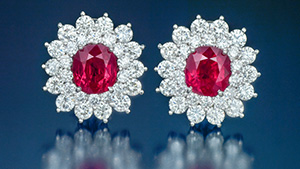 Ruby and diamond earrings from Mong Hsu