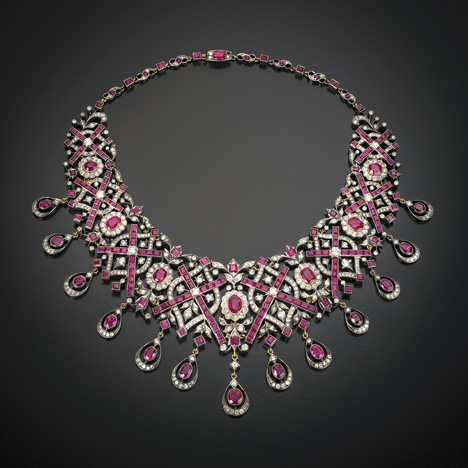 CS-DB Pendants 5ct Red Ruby Silver Necklaces