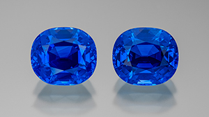 Matched pair of Kashmir sapphires