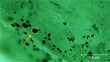 Black inclusions in Davdar emerald identified as magnetite.