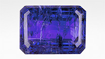 Oiling the fissures dramatically improves the appearance of this tanzanite.