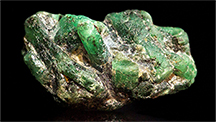 The Julian deposit produces emerald clusters (shown) as well as single crystals.