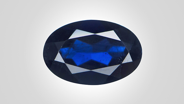 Blue flux-grown synthetic sapphire.