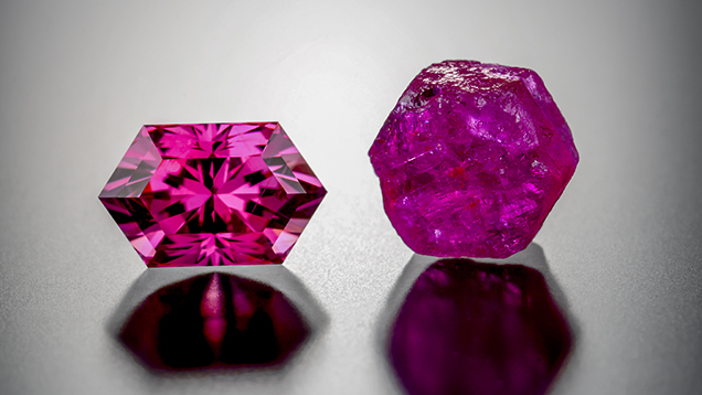 Purplish pink Montana sapphire in this study (left) next to a hexagonal rough (right).