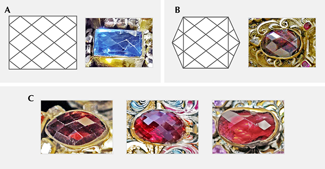 Rose cuts with domes featuring repeating patterns of rhombuses in parallel orientation