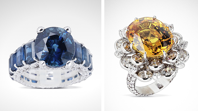 High-quality sapphires from southern Vietnam set in rings
