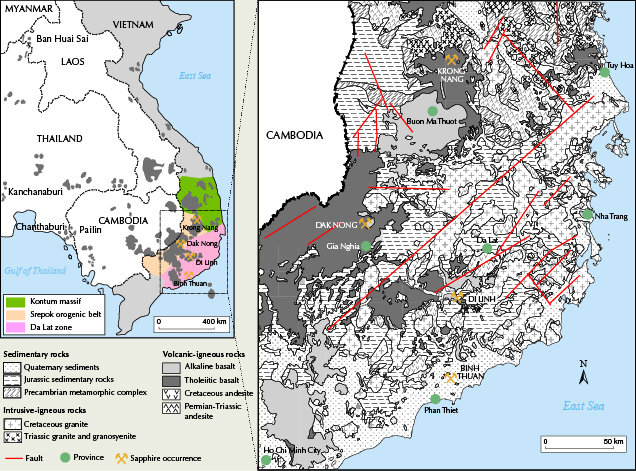 Map of the main sapphire mining areas in southern Vietnam
