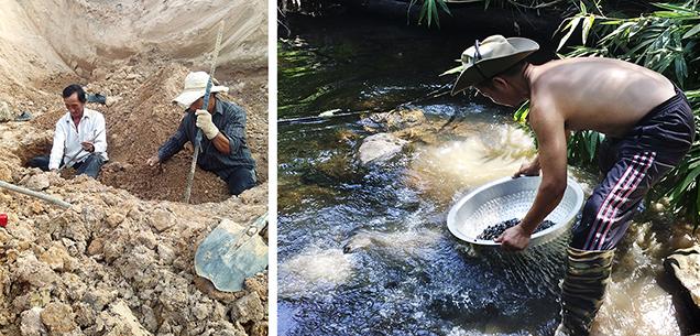 Artisanal miners in the Binh Thuan gem field