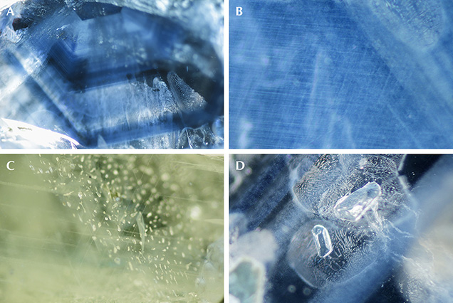 Typical internal features in sapphire from southern Vietnam