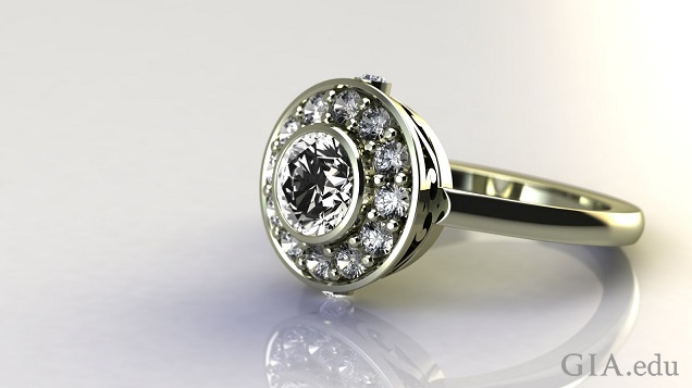 A round brilliant diamond in the center with a band of smaller round brilliant diamonds encircling it.