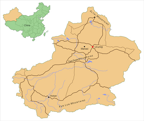 Locations of China's nephrite deposits