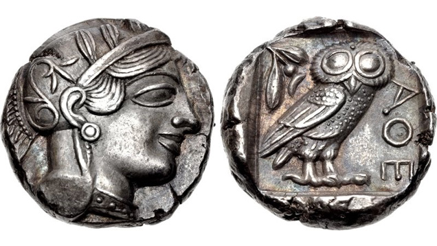 Ancient silver coin Athens