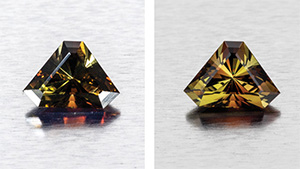 This andalusite from Minas Gerais, Brazil weighs 2.87 ct. This image (left) shows direct lighting, which is not ideal for bringing out the transparent gemstone's rich pleochroic colors. Instead, the direct lighting seems to darken the stone and creates