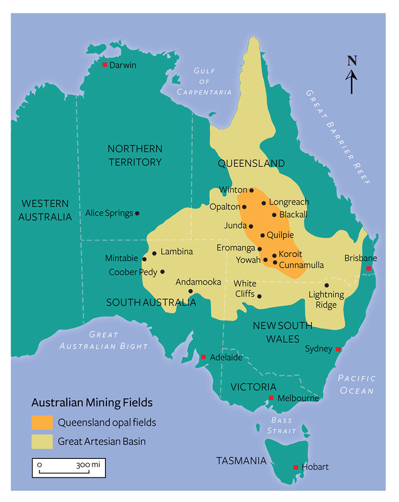 Map of Australian opal deposits