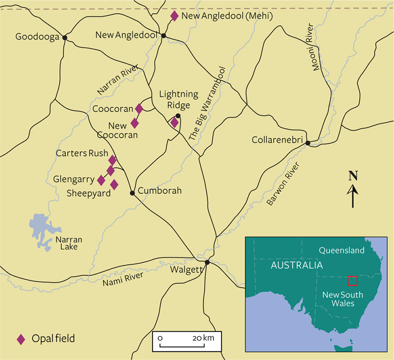 Map of Lightning Ridge opal region