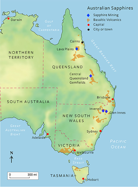 Map of three main sapphire mining fields in Australia