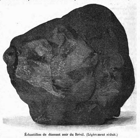 """Black and white illustration of 3167 carat carbonado """"Sergio"""""""